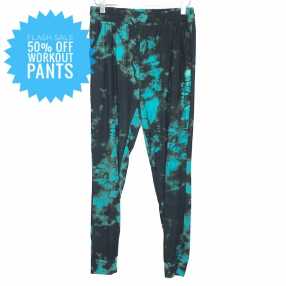 Pants - Black & Green Tie Dye Jogger Pants A070527
